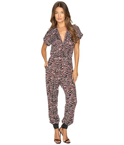 Just Cavalli Zebra Vibe Print Short Sleeve Jumpsuit - Corallo Red