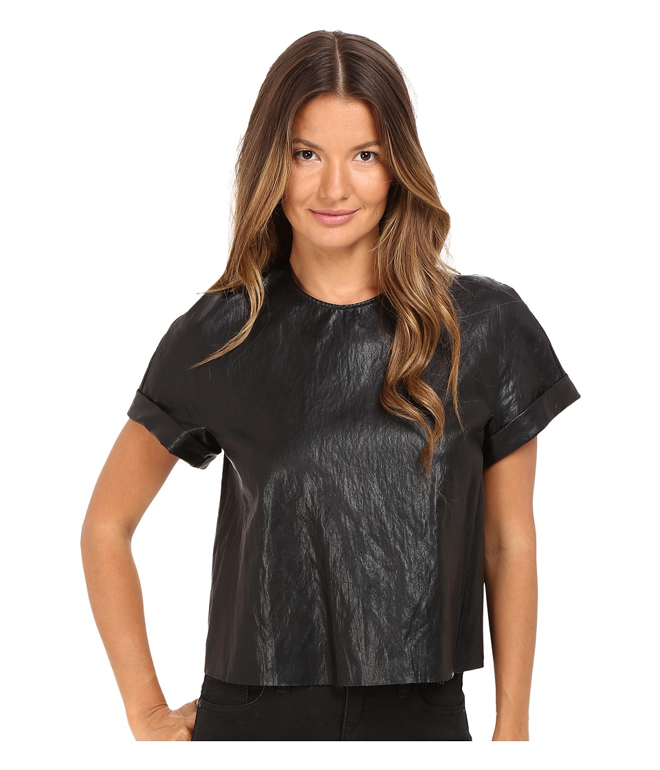 Just Cavalli Eco-Leather Cropped T-Shirt (Black) Women