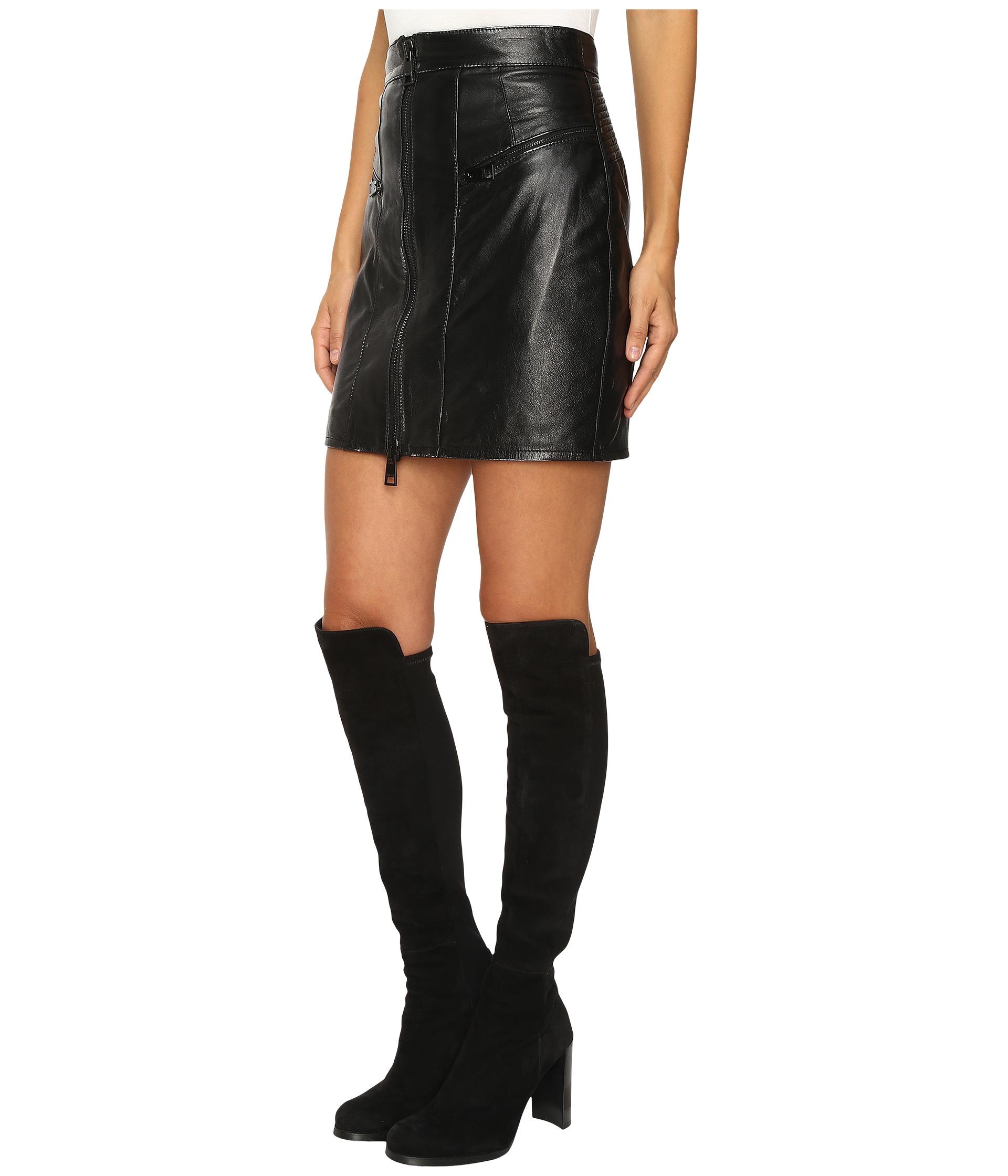 Just Cavalli Leather Mini Skirt w/ Metallic Finish Black ...