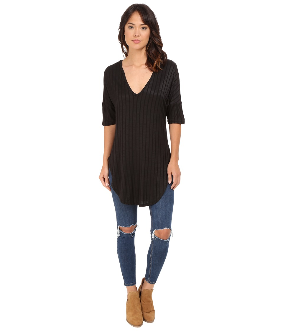 Lucy Love V Neck Tunic Black Womens Blouse