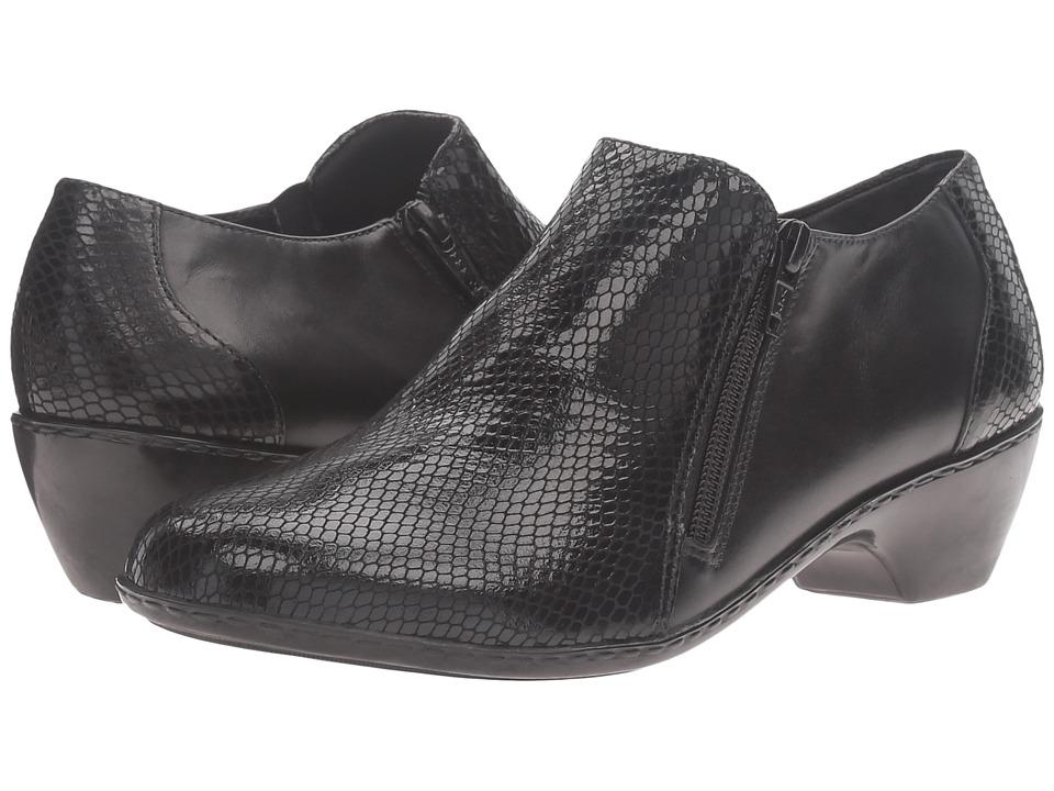 Walking Cradles Cadence (Black Leather/Black Patent Snake Print) Women