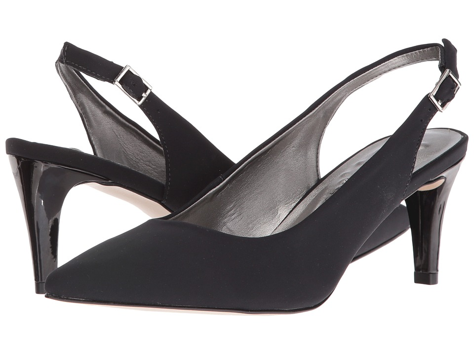 Walking Cradles Sidney (Black Micro/Black Patent Heel) Women's Shoes