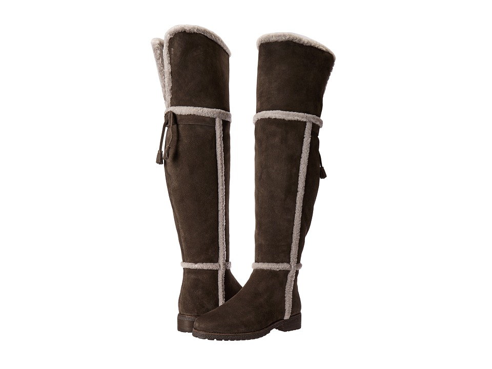 Frye Tamara Shearling Over The Knee (Smoke Water Resistant Suede/Shearling) Women