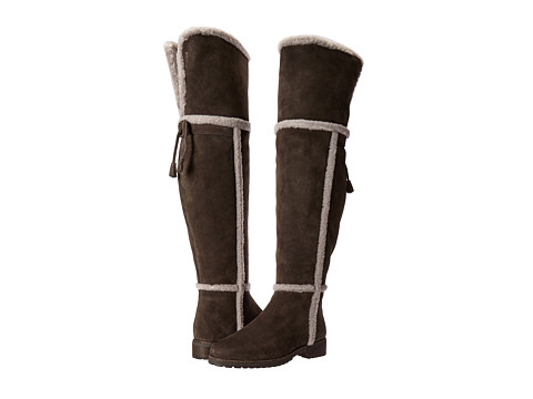 Frye Tamara Shearling Over The Knee - Smoke Water Resistant Suede/Shearling