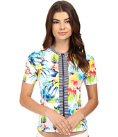Tommy Bahama - Fleur de Lite Short-Sleeve Full-Zip Rash Guard