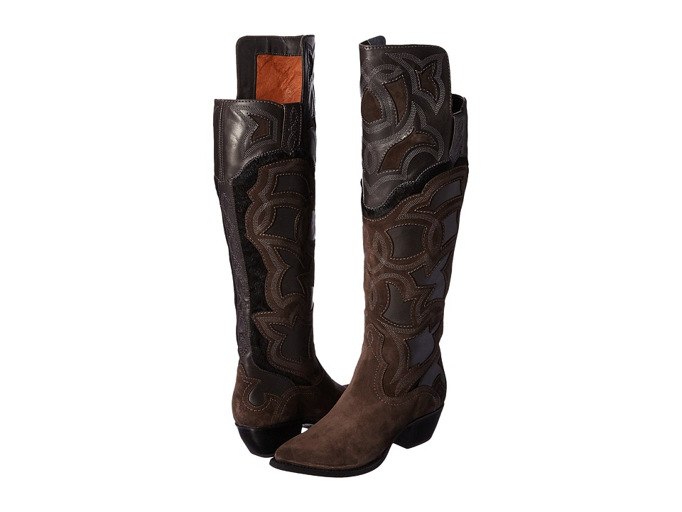 Frye Shane Embroidered Cuff (Charcoal Smooth Veg Calf/Oiled Suede/Haircalf) Cowboy Boots