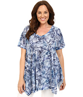 Nally & Millie - Plus Size Blue Leaf Print Tunic