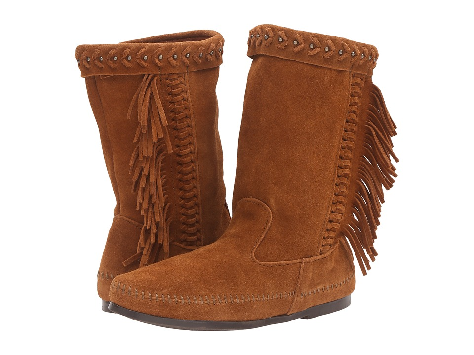 Minnetonka - Luna Fringe Boot (Brown Suede) Women