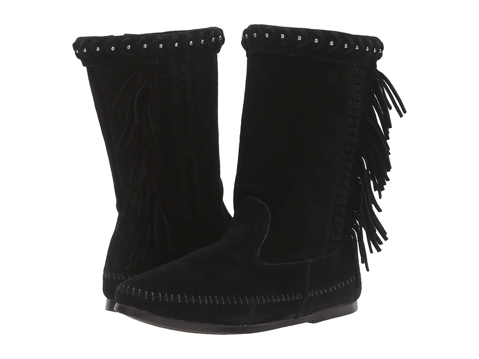 Minnetonka - Luna Fringe Boot (Black Suede) Women