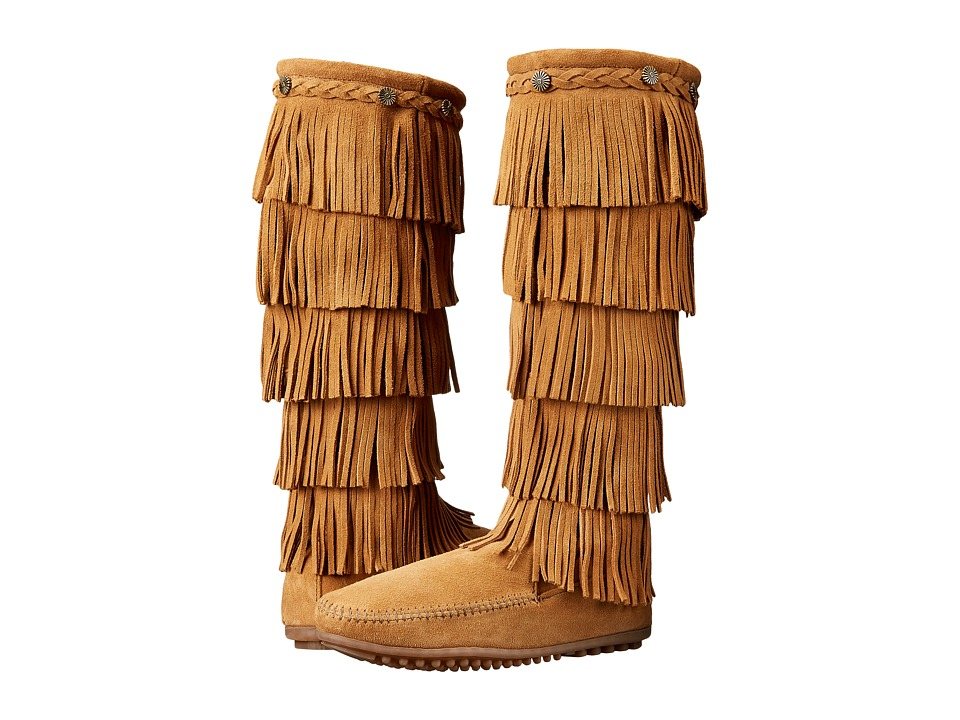 Minnetonka 5-Layer Fringe Boot (Taupe Suede) Women