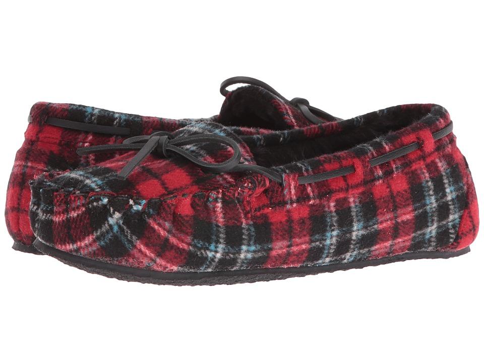 Minnetonka - Plaid Cally (Red Plaid) Womens Slippers