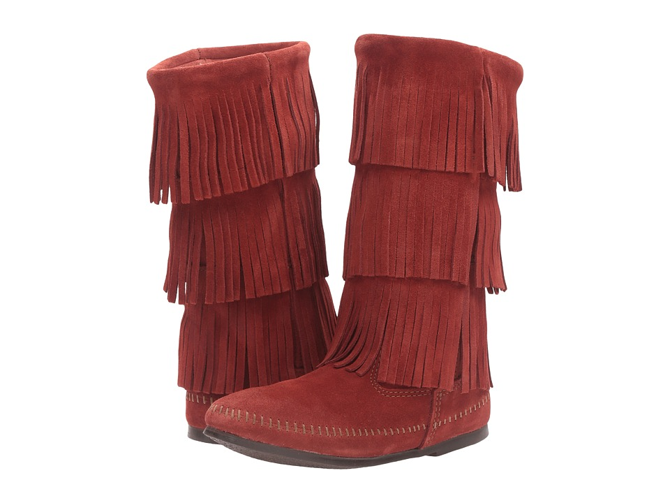 Minnetonka 3 Layer Fringe Boot (Brandy Suede) Women