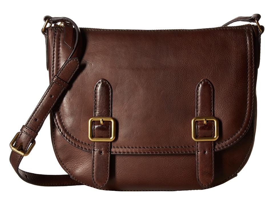 Frye - Claude Crossbody (Chocolate Tumbled Full Grain) Handbags