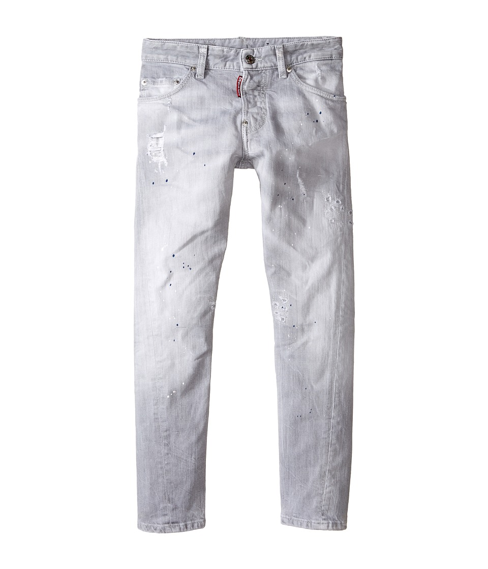 Dsquared2 Kids Light Grey Wash Twist Kenny Jeans Big Kids Denim Black Boys Jeans