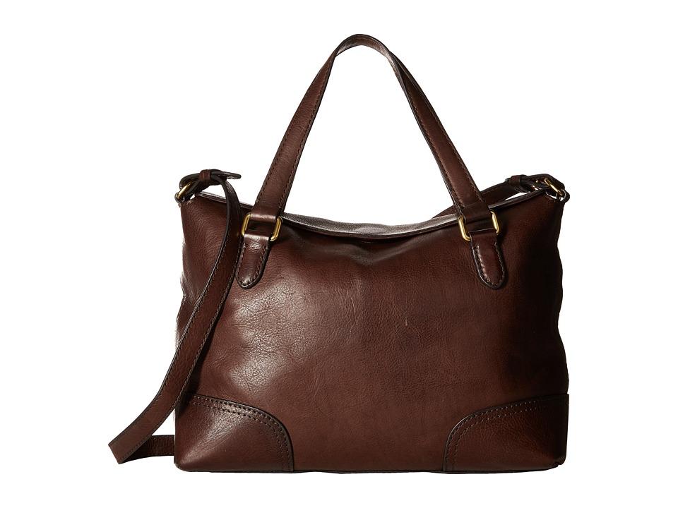 Frye - Claude Satchel (Chocolate Tumbled Full Grain) Satchel Handbags