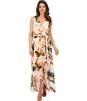 Sangria - Floral Print Chiffon Maxi Dress