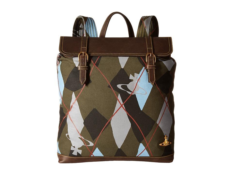 Vivienne Westwood - Africa Harlequin Steamer Rucksack (Green Argyle) Backpack Bags