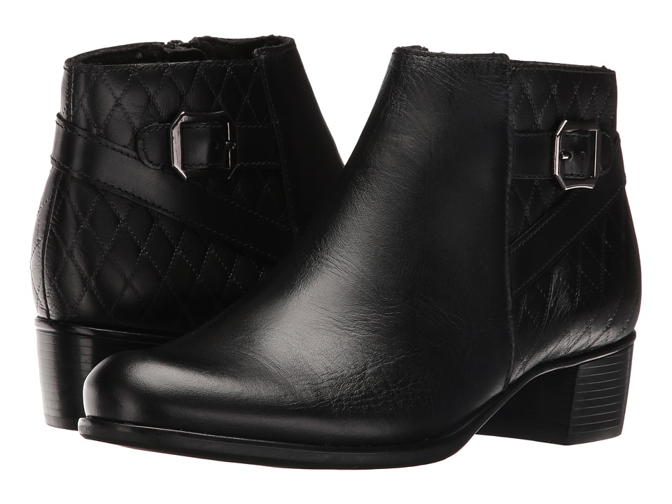 MUNRO Jolynn (Black Leather/Quilted Detail) Women's Pull-...