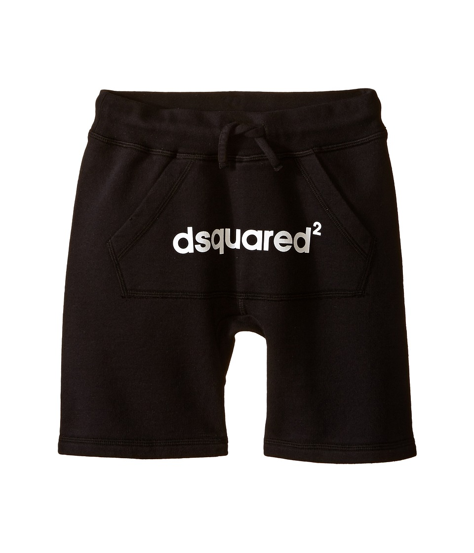 Dsquared2 Kids Sweat Shorts w/ Front Pocket Logo Little Kids/Big Kids Black Boys Shorts