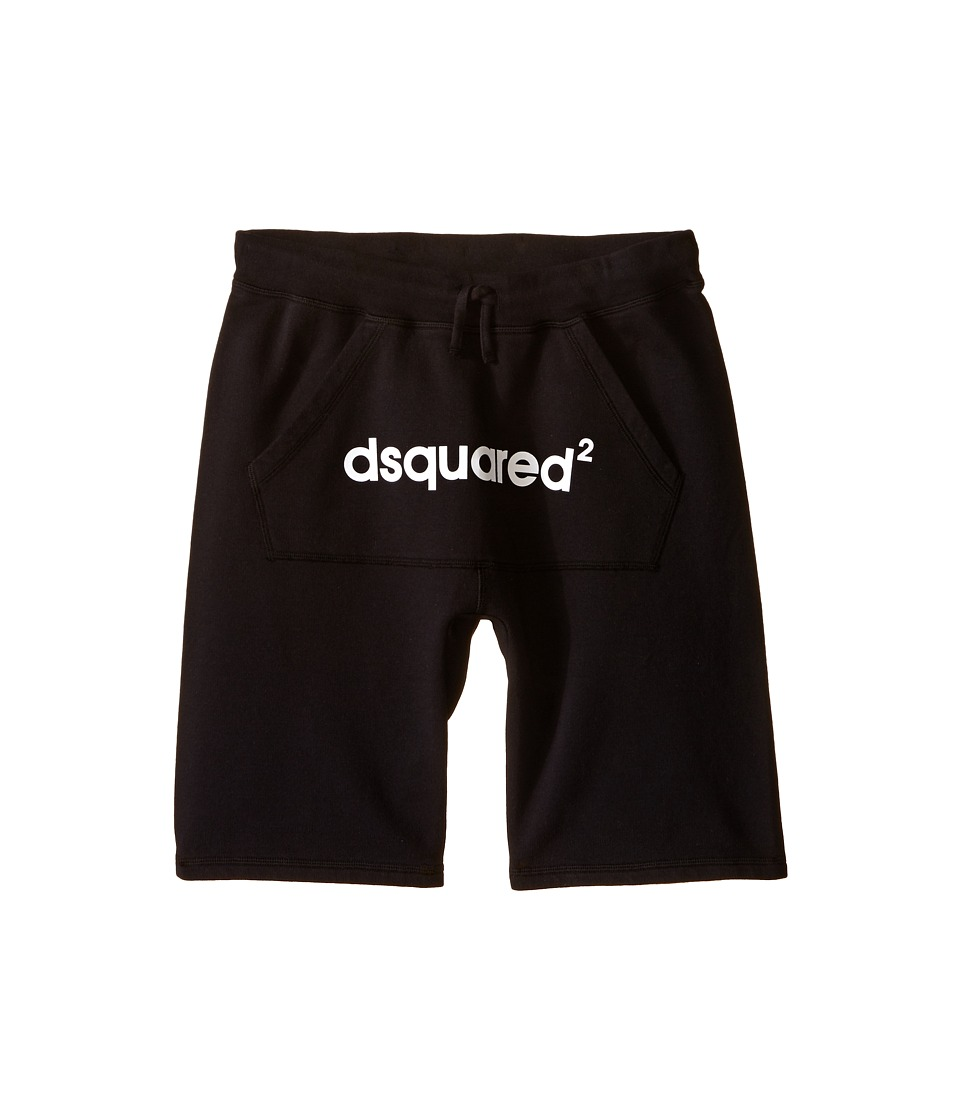 Dsquared2 Kids Sweat Shorts w/ Front Pocket Logo Big Kids Black Boys Shorts