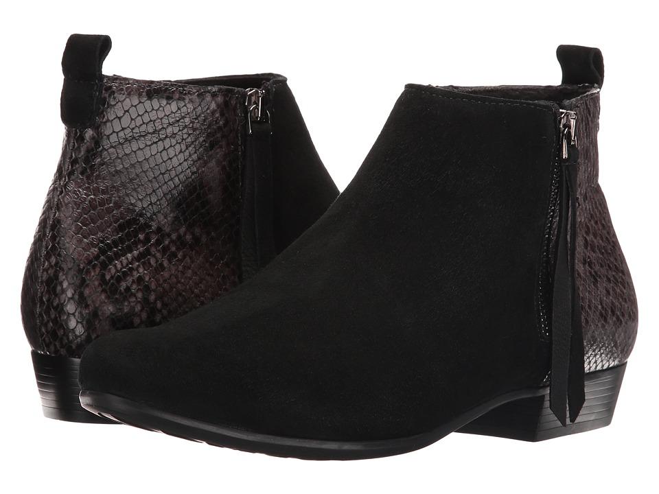 MUNRO Lexi II (Black Kid Suede/Python) Women's Zip Boots