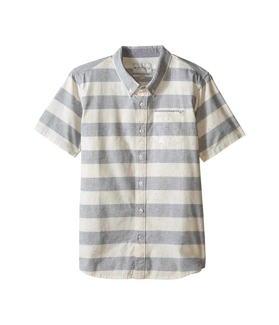 Rip Curl Kids El Tule Short Sleeve Shirt Big Kids Navy Boys Short Sleeve Button Up