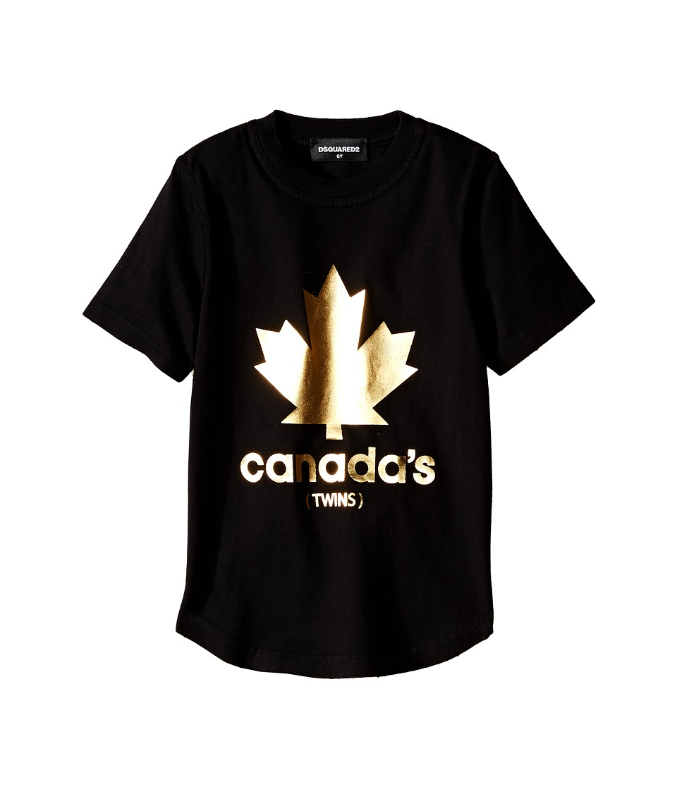 Dsquared2 Kids - Golden Maple Leaf T-Shirt (Little Kids/Big Kids) (Black) Boy