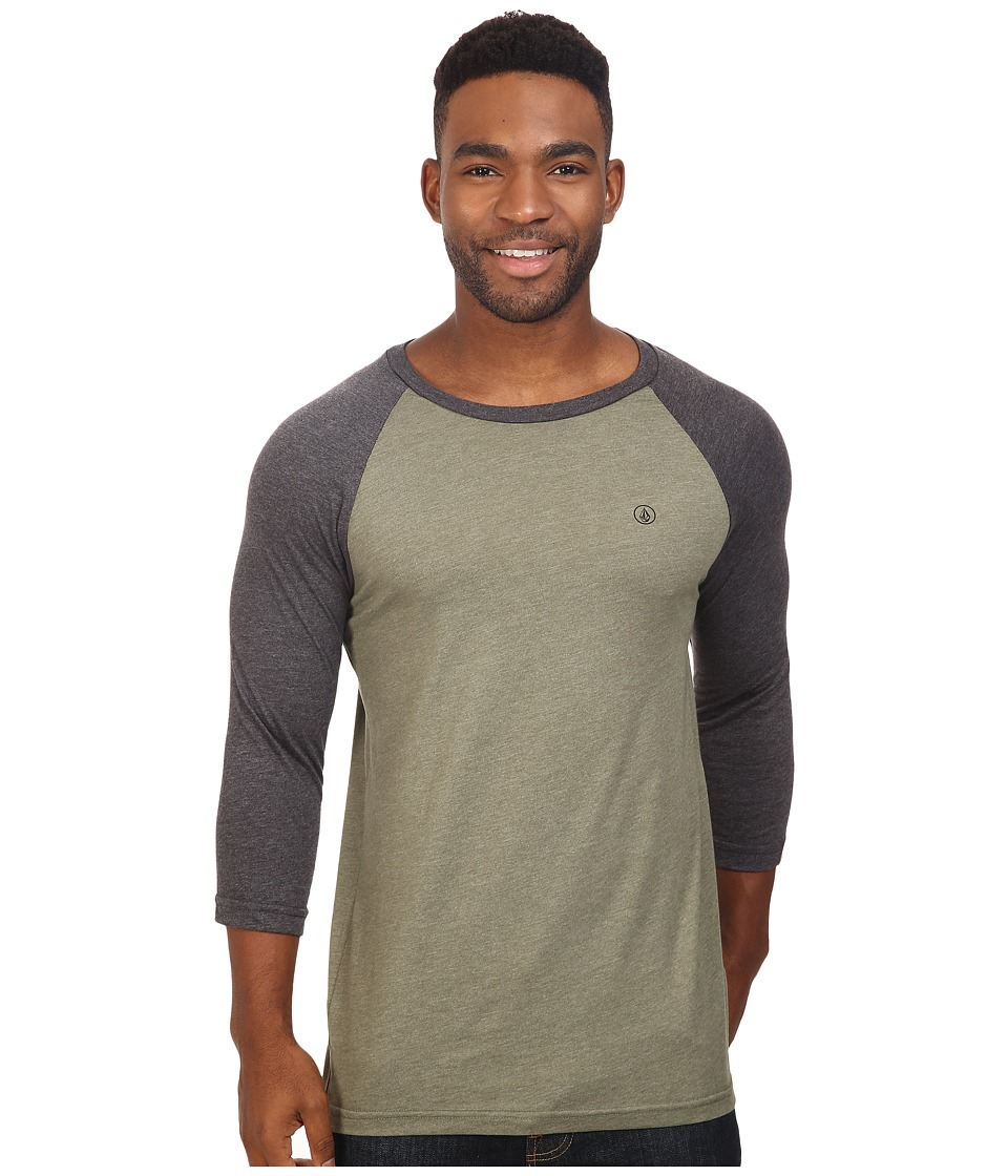 Volcom - Staple Baseball Raglan (Vineyard Green Heather) Men's T Shirt