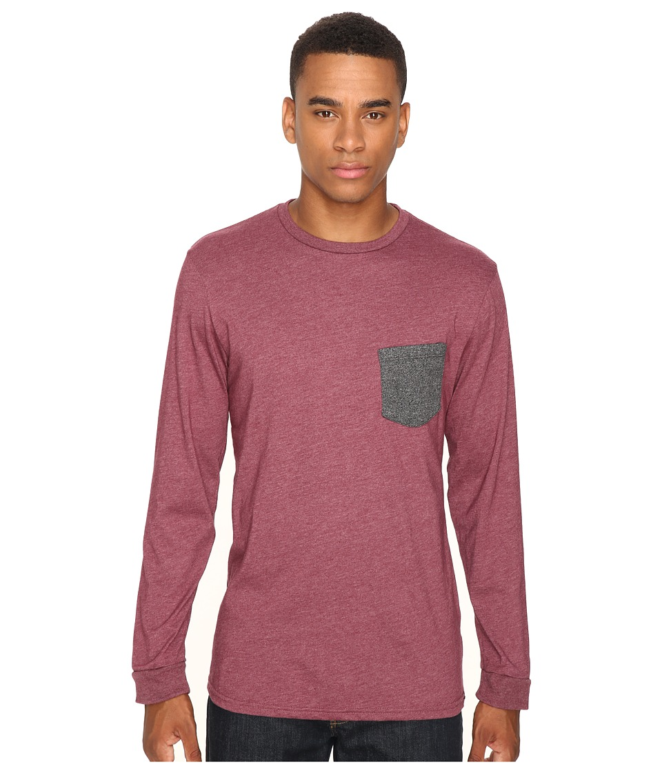 Volcom - New Twist Long Sleeve Pocket Tee (Merlot Heather) Men