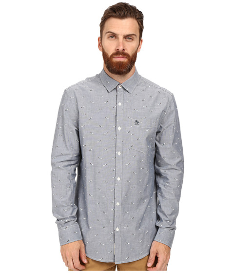 Original Penguin Long Sleeve Oxford with 3D Glasses Print