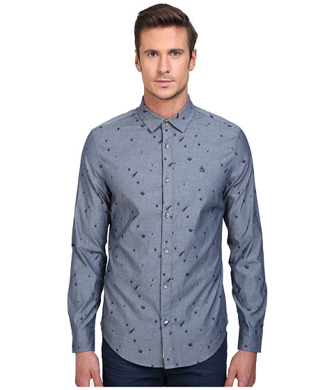 Original Penguin Long Sleeve Space Jacquard Chambray Print - Dark Sapphire