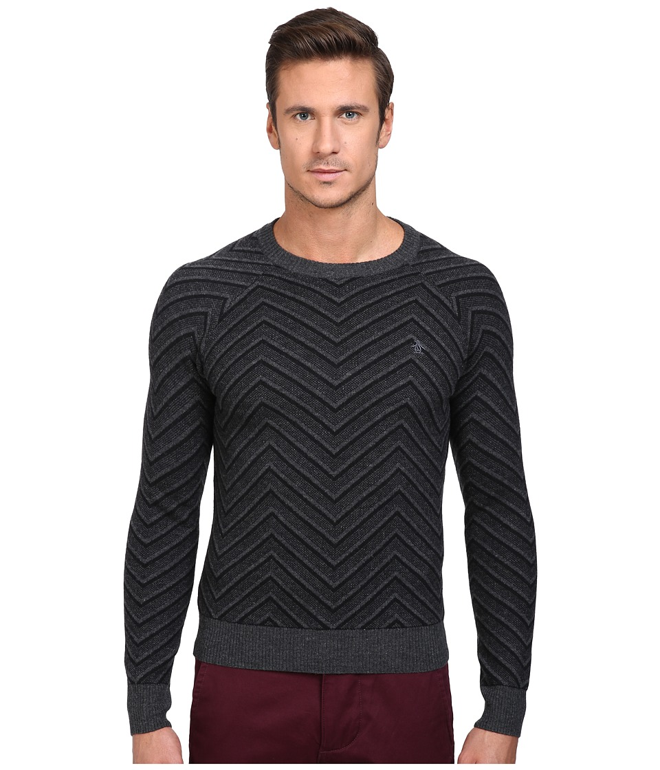 Original Penguin Raglan Textured Exploded Herringbone Crew Neck Sweater (True Black) Men