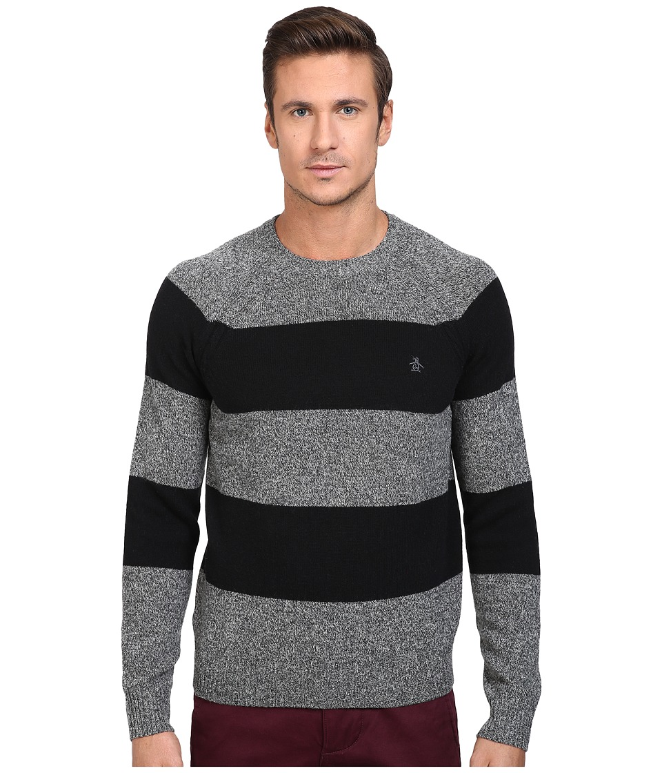 Original Penguin Wide Stripe Crew Neck Sweater (Dark Shadow) Men
