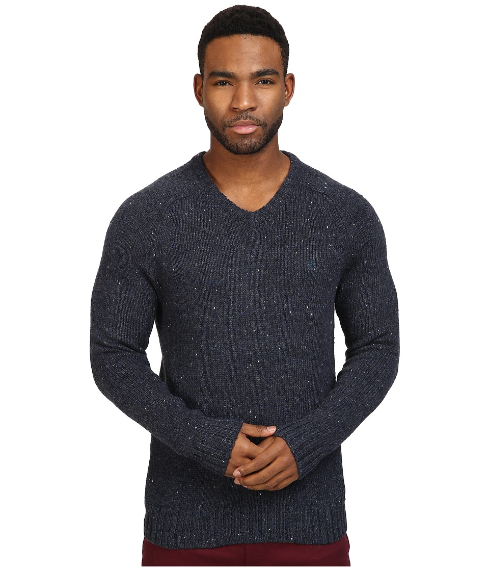 Original Penguin Saddle Raglan Donegal V-Neck Sweater (Dark Sapphire) Men