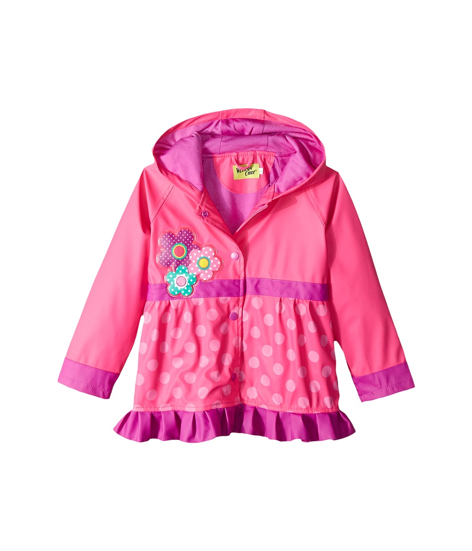Western Chief Kids - Flower Cutie Rain Coat (Toddler/Little Kids) (Pink) Girls Coat