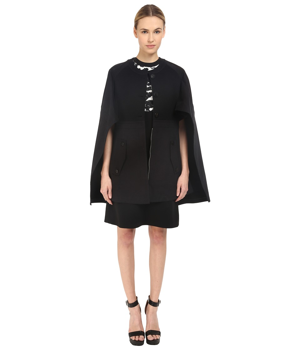 Neil Barrett Mixed Fabrics Flared Cape Black Womens Coat