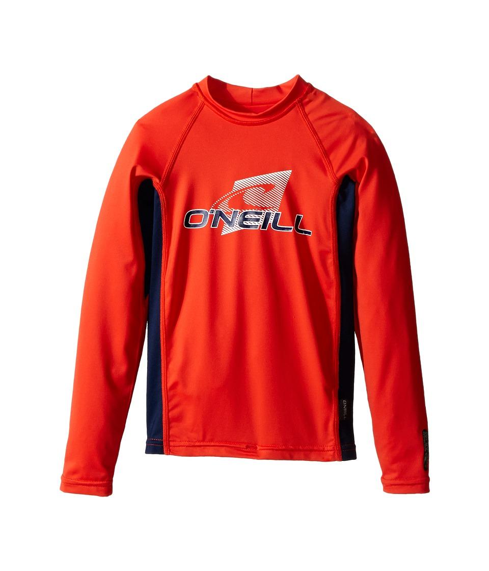 ONeill Kids - Skins Long Sleeve Crew (Little Kids/Big Kids) (Neon Red/Navy/Neon Red) Boys Swimwear
