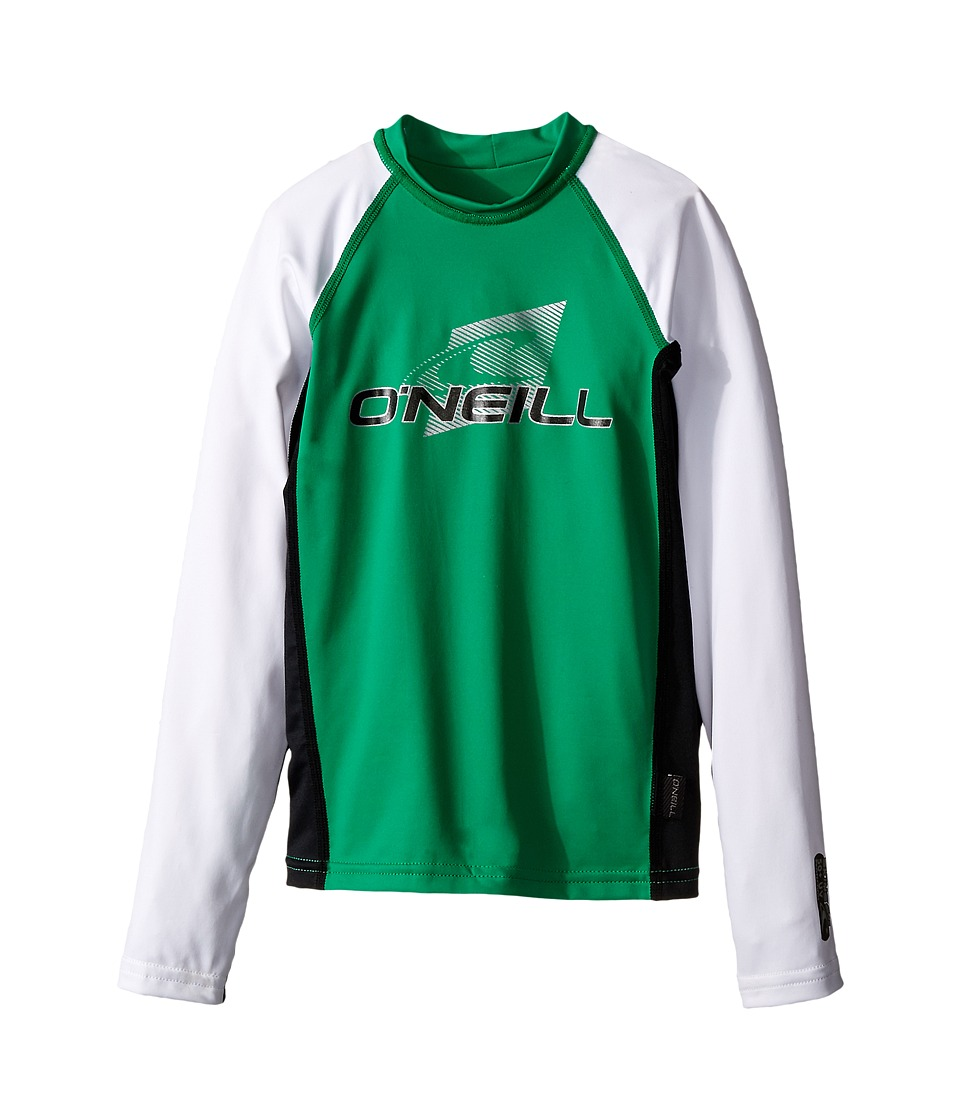 ONeill Kids Skins Long Sleeve Crew Little Kids/Big Kids Clean Grean/Black/White Boys Swimwear