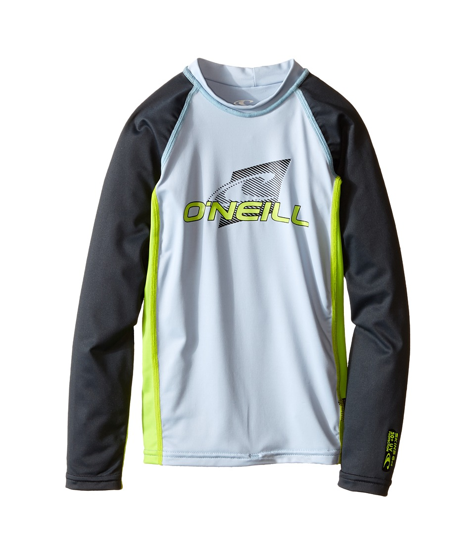 ONeill Kids Skins Long Sleeve Crew Little Kids/Big Kids Fog Blue/Lime/Graphite Boys Swimwear