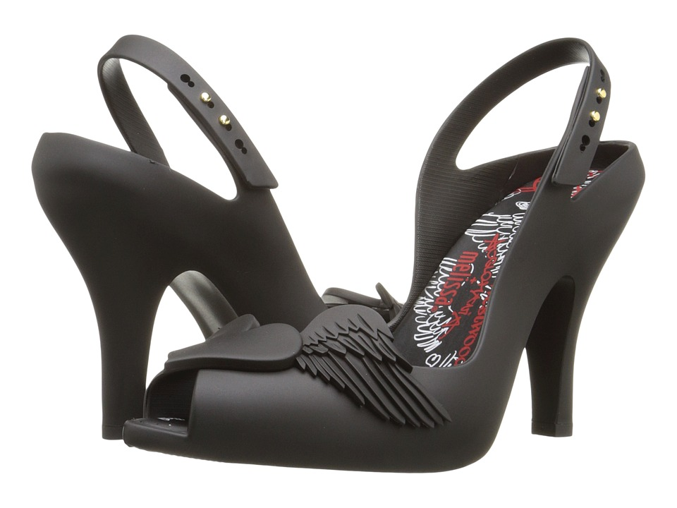 Vivienne Westwood - Anglomania + Melissa Lady Dragon (Black/Flocked) Women