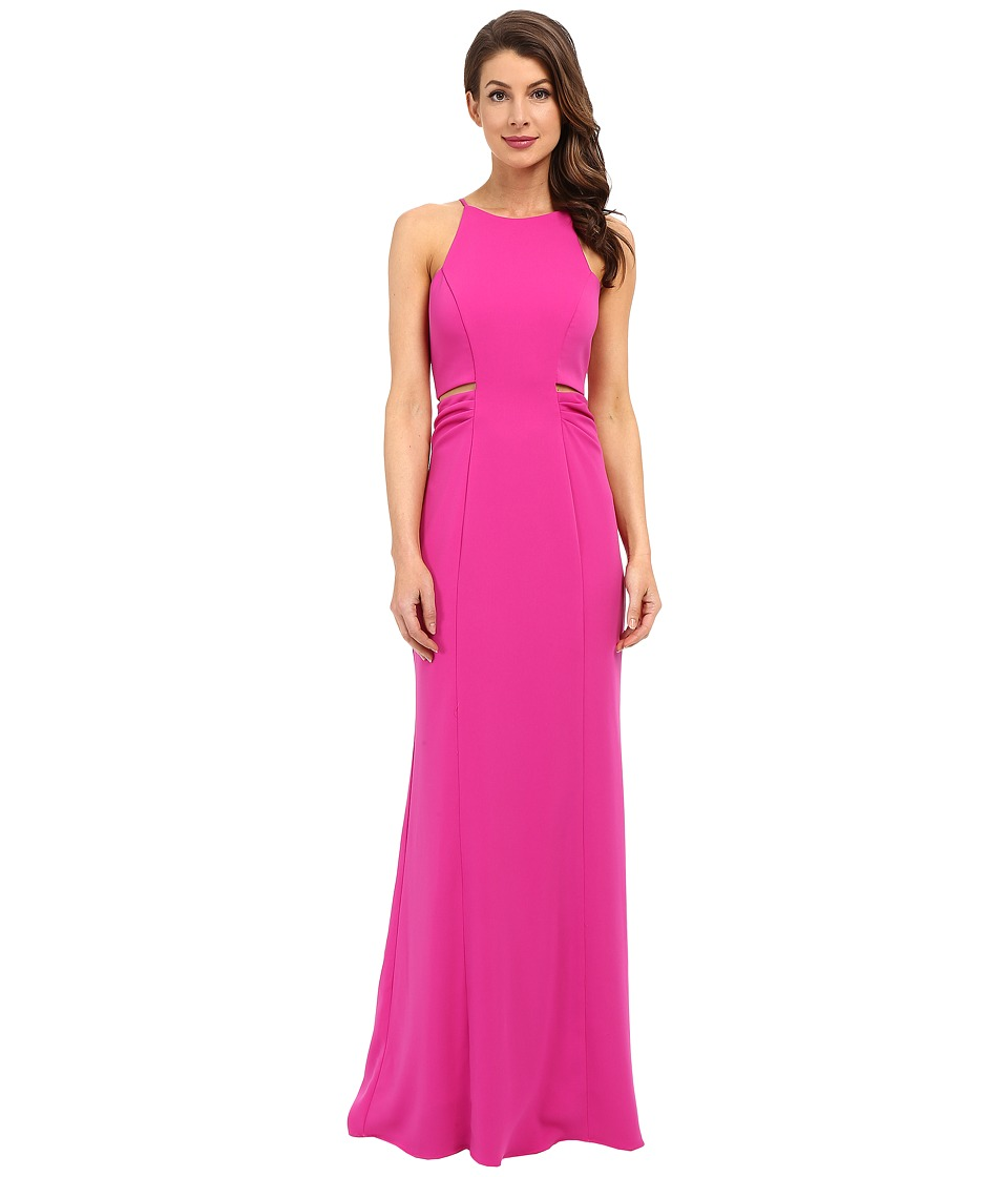 Badgley Mischka Cut Out Stretch Crepe Gown Magenta Womens Dress