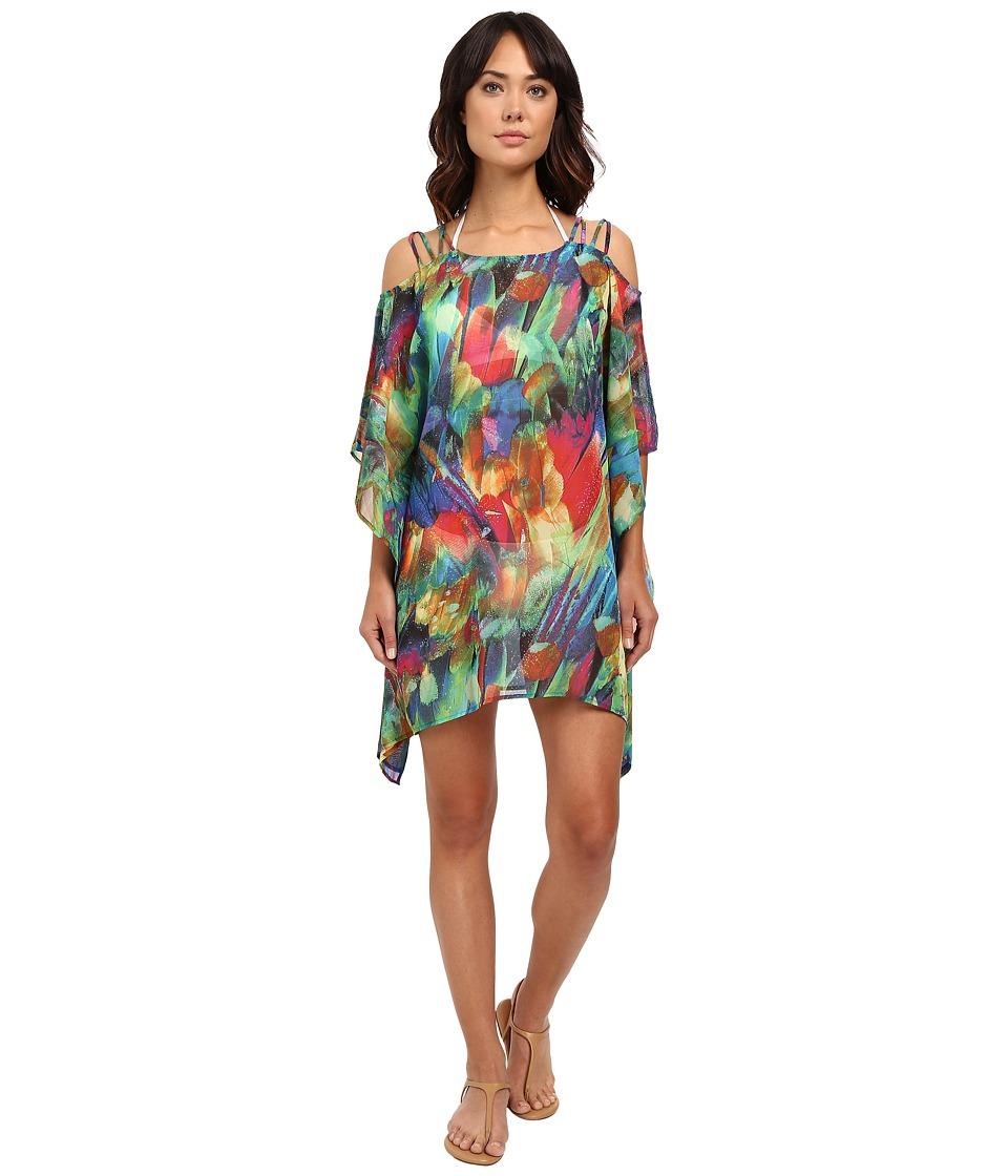 La Blanca Feathering Colors Cold Shoulder Tunic Rainbow Womens Swimwear