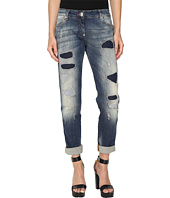 Philipp Plein - Light Wash Boyfriend Cut Distressed Denim in Light Blue