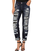 Philipp Plein - Dark Wash Boyfriend Cut Distressed Denim in Dark Blue