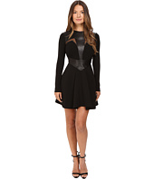 Philipp Plein - Leather Insetted Long Sleeve Dress