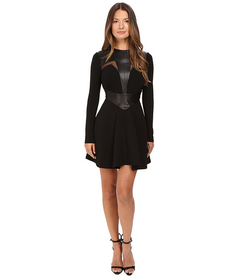 Philipp Plein Leather Insetted Long Sleeve Dress