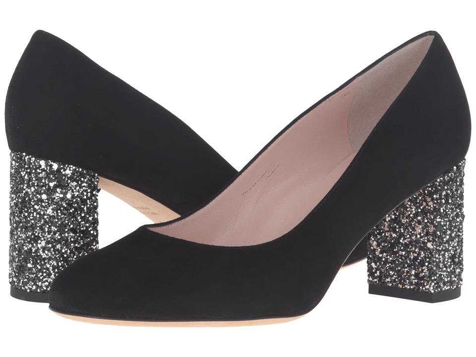 Kate Spade New York - Anastasia (Black Kid Suede/Glitter Heel) High Heels