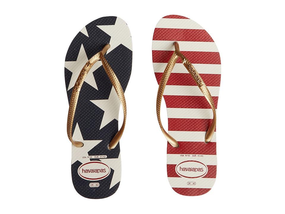 Havaianas Slim Stars and Stripes Sandal (White/Navy) Women