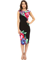 London Times - Cap Sleeve Printed Midi Sheath