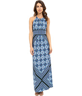 London Times - Halter Keyhole Border Maxi